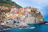 View of colorful Italian village, Ligurian coast