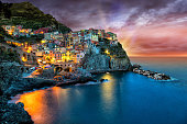 Manarola village on the Cinque Terre coast. of Italy.