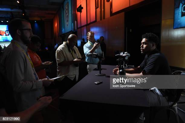 Manase Hungalu linebacker of Oregon State addresses the media during the Pac12 Football Media Day on July 26 2017 at Hollywood Highland in Los...