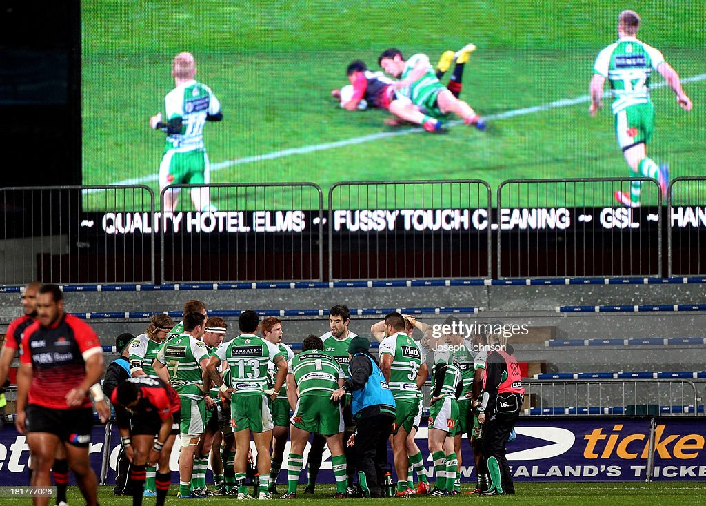 Manawatu players stand behind their goalline after Richie Mo'unga scored a try during the round 7 ITM Cup match between Canterbury and Manawatu at AMI Stadium on September 25, 2013 in Christchurch, New Zealand.