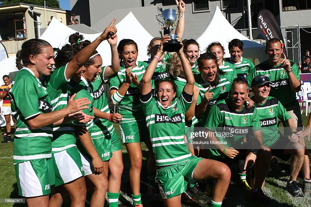 Manawatu womens team celebrate after winning the National Rugby Sevens at the Queenstown Recreation Ground on January 13, 2013 in Queenstown, New Zealand.