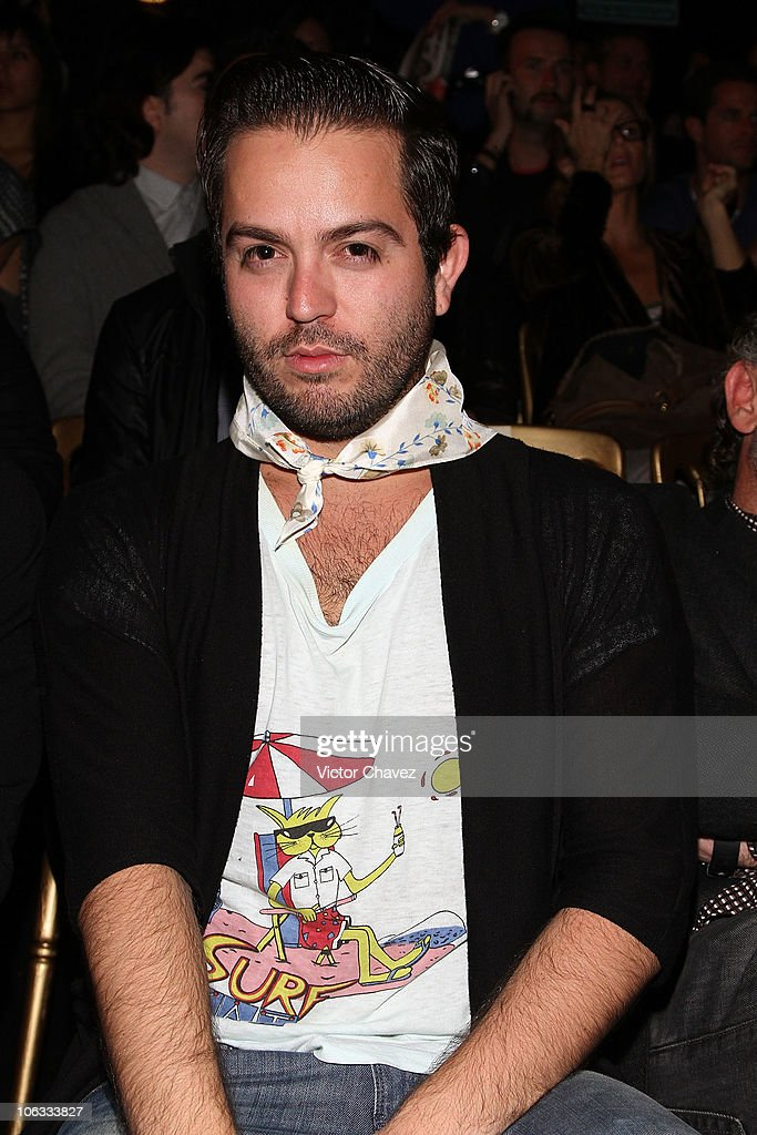 Mancandy fashion designer <a gi-track='captionPersonalityLinkClicked' href=/galleries/search?phrase=Andres+Jimenez&family=editorial&specificpeople=5498155 ng-click='$event.stopPropagation()'>Andres Jimenez</a> attends the second day of Mercedes-Benz Dfashion Mexico Spring/Summer 2011 at Campo Marte on October 26, 2010 in Mexico City, Mexico.