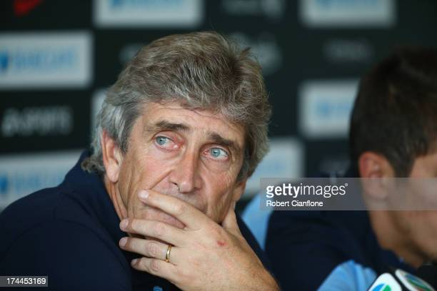 Mancester City coach Manuel Pellegrini speaks to the media during a Barclays Asia Trophy press conference at Grand Hyatt on July 26 2013 in Hong Kong...