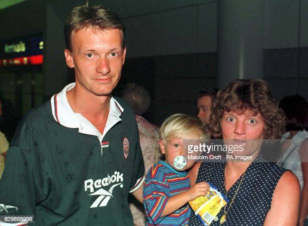 Manchester 21796 Steven and Susan Owen and their two yearold son James at Manchester Airport last night after arriving back from Reus Tarragona Spain...