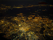 Manchester View at night from a airplane