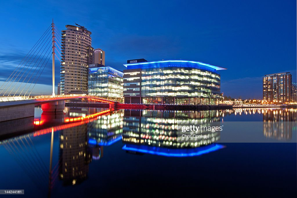 Manchester BBC Mediacity in blue hour