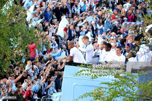 Manchester City captain Vincent Kompany during the Barclays Premier League Victory Parade at Exchange Square Manchester