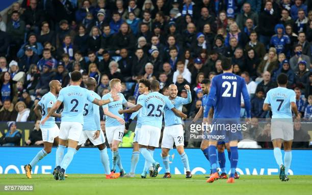 Manchester City celebrate after Gabriel Jesus of Manchester City scored to make it 01 during the Premier League match between Leicester City and...