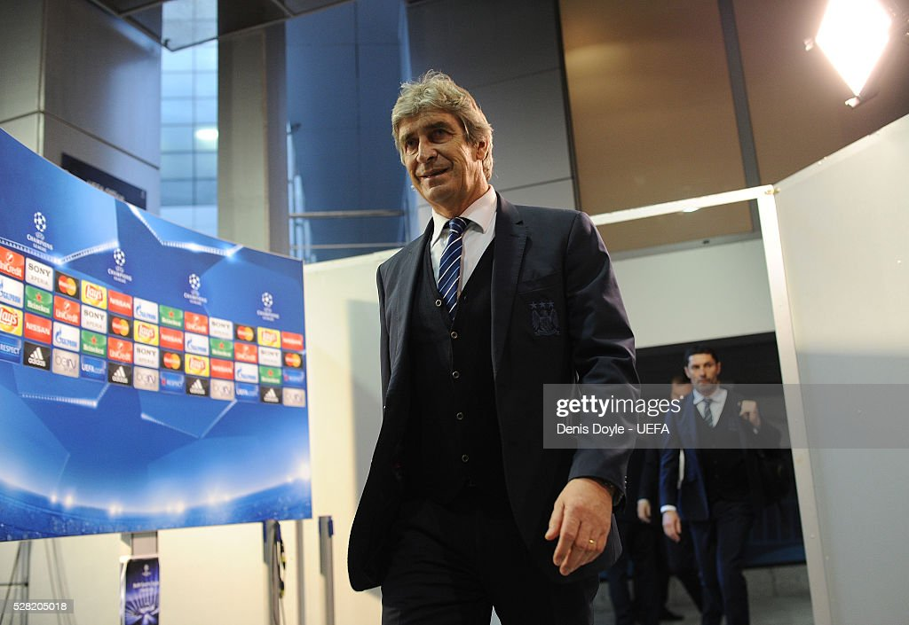 Manchester City coach <a gi-track='captionPersonalityLinkClicked' href=/galleries/search?phrase=Manuel+Pellegrini&family=editorial&specificpeople=673553 ng-click='$event.stopPropagation()'>Manuel Pellegrini</a> arrives at the Santiago Bernabeu stadium ahead of the UEFA Champions League Semi Final second leg match between Real Madrid and Manchester City FC at Estadio Santiago Bernabeu on May 4, 2016 in Madrid, Spain.