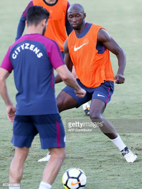Manchester City defender Eliaquim Mangala kicks the ball in a training session at the StubHub Center on July 25 2017 in Carson California / AFP PHOTO...