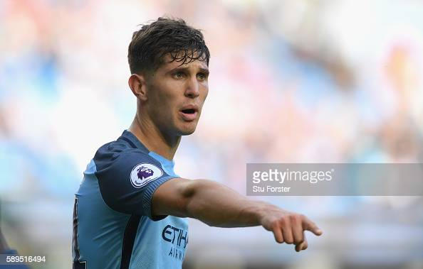 Manchester City defender John Stones in action during the Premier League match between Manchester City and Sunderland at Etihad Stadium on August 13...