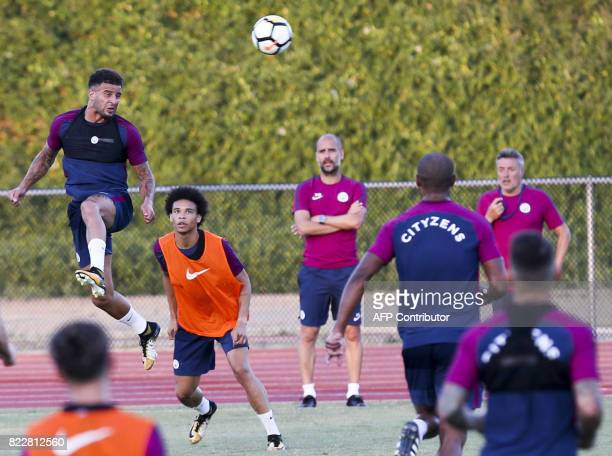 Manchester City defender Kyle Walker participates in a training session at the StubHub Center on July 25 2017 in Carson California / AFP PHOTO /...