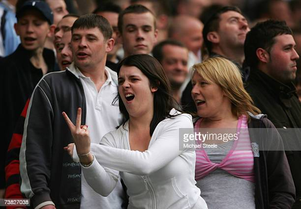 Manchester City fan gestures to the Charlton fans during the Barclays Premiership match between Manchester City and Charlton Athletic at The City of...