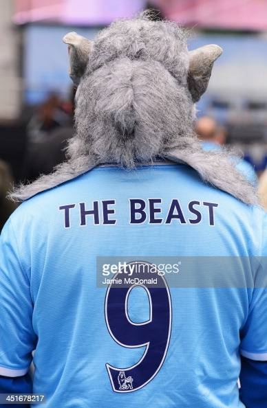 Manchester City fan wears the number 9 shirt of Alvaro Negredo nicknamed 'The Beast' prior to the Barclays Premier League match between Manchester...