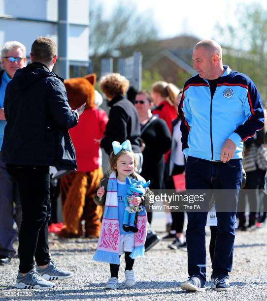Manchester City fans arrive prior to the start during the SSE FA Women's Cup Sixth Round match between Bristol City Women and Manchester City Women...
