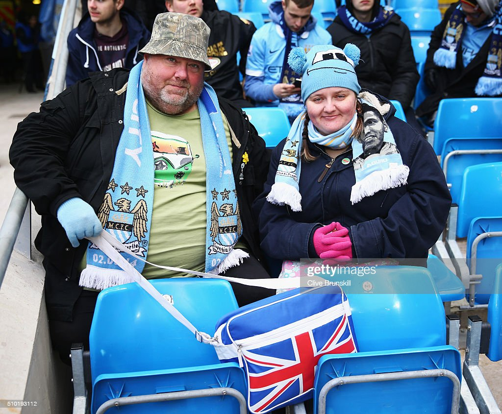 Manchester City fans pose prior to the Barclays Premier League match between Manchester City and Tottenham Hotspur at Etihad Stadium on February 14, 2016 in Manchester, England.