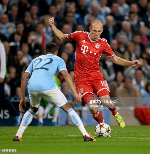 FUSSBALL CHAMPIONS Manchester City FC Bayern Muenchen Gaael Gael Clichy gegen Arjen Robben