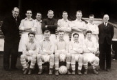 Manchester City Football Club at Maine Road in Manchester on 24th March 1955 Back row left to right Leslie McDowall Ken Barnes Roy Paul Bert...