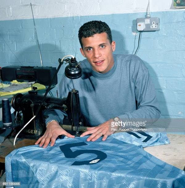 Manchester City footballer Keith Curle with his new shirt at Maine Road in Manchester circa August 1992