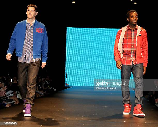 Manchester City footballers Gareth Barry and Nedum Onuoha model Selfridges collection at Fashion Kicks in aid of Macmillan Cancer Relief at Old...