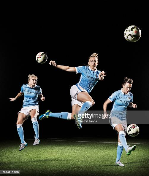 Manchester City footballers Steph Houghton Toni Duggan and Lucy Bronze are photographed for the Guardian on July 22 2015 in Manchester England