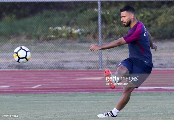 Manchester City forward Sergio Aguero participates in a training session at the StubHub Center on July 25 2017 in Carson California / AFP PHOTO /...