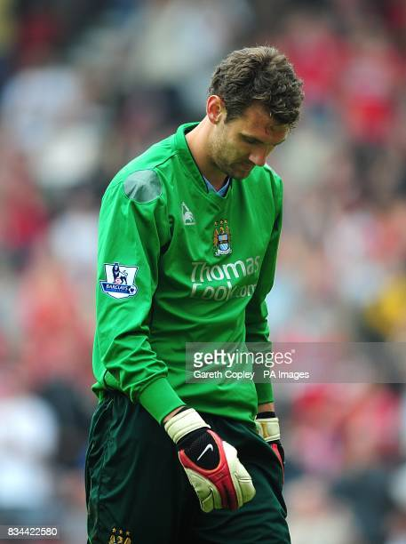 Manchester City goalkeeper Andreas Isaksson dejected after Middlesbrough's Afonso Alves scores his sides second goal of the game