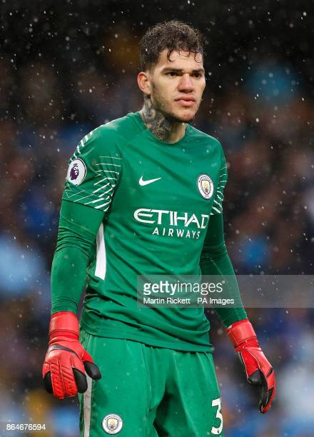 Manchester City goalkeeper Ederson during the Premier League match at the Etihad Stadium Manchester