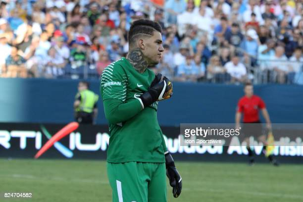 Manchester City goalkeeper Ederson Moraes during the game between Manchester City and Tottenham Hotspur Manchester City defeated Tottenham by the...