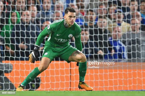 Manchester City goalkeeper Ederson Moraes during the Premier League match between Chelsea and Manchester City at Stamford Bridge London England on 30...