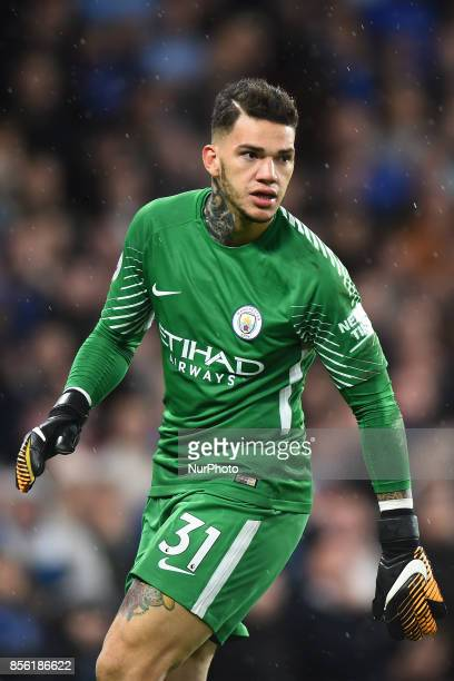 Manchester City goalkeeper Ederson Moraes in action during the Premier League match between Chelsea and Manchester City at Stamford Bridge London...