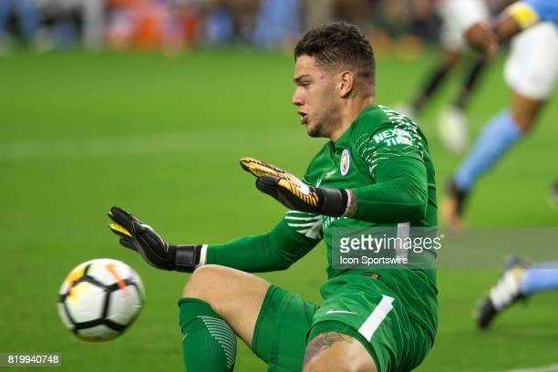 Manchester City goalkeeper Ederson Moraes unable to stop the ball kicked by Manchester United forward Marcus Rashford in the first half during the...