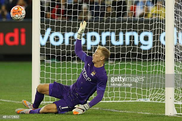 Manchester City Goalkeeper Joe Hart makes a match winning save in the penalty shoot during the International Champions Cup match between Manchester...