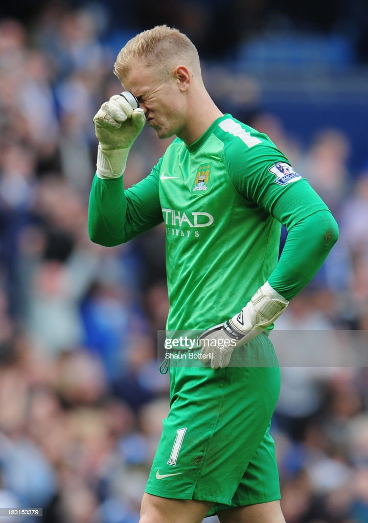 Manchester City goalkeeper Joe Hart reacts during the Barclays Premier League match between Manchester City and Everton at Etihad Stadium on October 5, 2013 in Manchester, England.