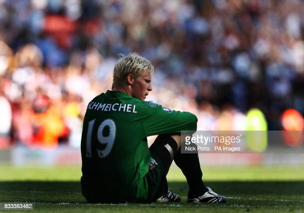 Manchester City goalkeeper Kasper Schmeichel shows his dejection after 10 defeat to Arsenal during the Barclays Premier League match at the Emirates...