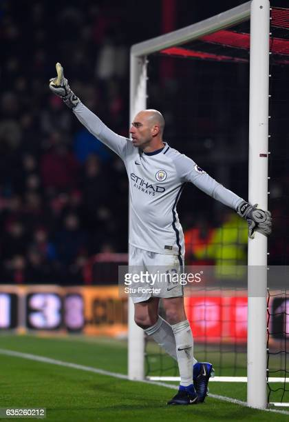 Manchester City goalkeeper Willy Caballero in action during the Premier League match between AFC Bournemouth and Manchester City at Vitality Stadium...