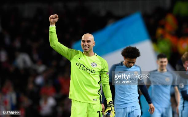 Manchester City goalkeeper Willy Caballero reacts after the UEFA Champions League Round of 16 first leg match between Manchester City FC and AS...