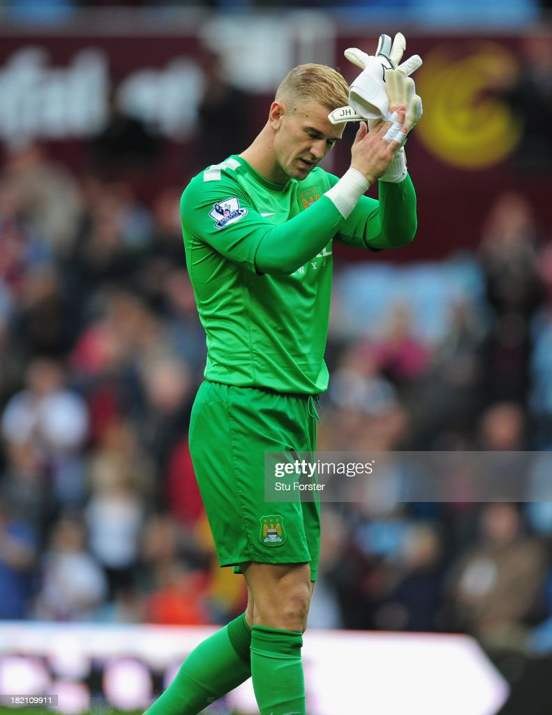 Manchester City keeper Joe Hart reacts after the Barclays Premier League match between Aston Villa and Manchester City at Villa Park on September 28, 2013 in Birmingham, England.
