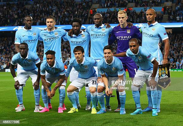 Manchester City line up prior to the UEFA Champions League Group D match between Manchester City FC and Juventus at the Etihad Stadium on September...