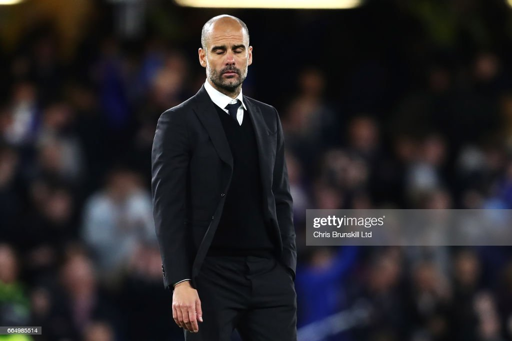 Manchester City Manager / Head Coach Pep Guardiola looks dejected at the end of the Premier League match between Chelsea and Manchester City at Stamford Bridge on April 5, 2017 in London, England.