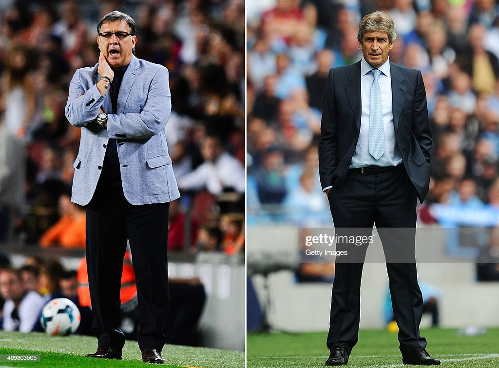 IMAGES - Image Numbers 180546404 (L) and 178918536) In this composite image a comparison has been made between Head coach Gerardo Martino of FC Barcelona (L) and Manchester City manager Manuel Pellegrini . Manchester City and Barcelona meet in the UEFA Champions League Round of 16 match 1st leg on February 18,2014 with the 2nd leg on March 12 ,2014. MANCHESTER, ENGLAND - AUGUST 31: Manchester City manager Manuel Pellegrini looks on during the Barclays Premier League match between Manchester City and Hull City at the Etihad Stadium on August 31, 2013 in Manchester, England.