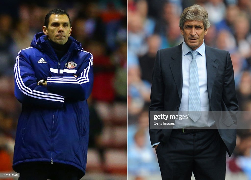 IMAGES - Image Numbers 453560903 (L) and 178918536) In this composite image a comparison has been made between Sunderland manager Gus Poyet (L) and <a gi-track='captionPersonalityLinkClicked' href=/galleries/search?phrase=Manuel+Pellegrini&family=editorial&specificpeople=673553 ng-click='$event.stopPropagation()'>Manuel Pellegrini</a> manager of Manchester City. Manchester City and Sunderland meet in the Capital One Final on March 2,2014 at Wembley Stadium. MANCHESTER, ENGLAND - AUGUST 31: Manchester City manager <a gi-track='captionPersonalityLinkClicked' href=/galleries/search?phrase=Manuel+Pellegrini&family=editorial&specificpeople=673553 ng-click='$event.stopPropagation()'>Manuel Pellegrini</a> looks on during the Barclays Premier League match between Manchester City and Hull City at the Etihad Stadium on August 31, 2013 in Manchester, England.