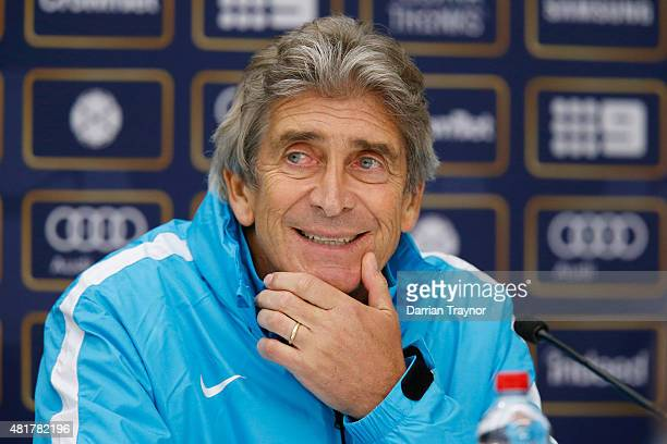 Manchester City Manager Manuel Pellegrini speaks to the media at Melbourne Cricket Ground on July 24 2015 in Melbourne Australia