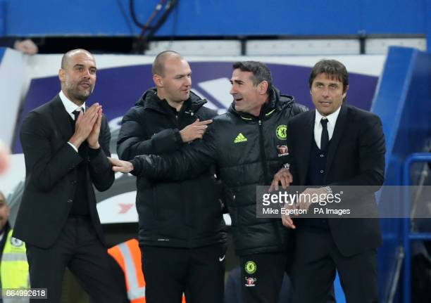 Manchester City manager Pep Guardiola and Chelsea manager Antonio Conte on the touchline during the Premier League match at Stamford Bridge London