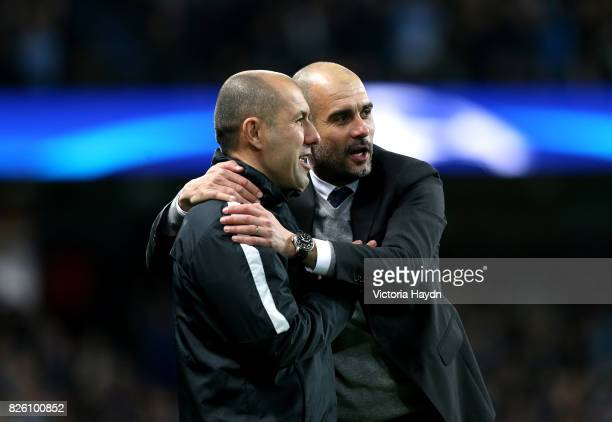 Manchester City manager Pep Guardiola and Monaco manager Leonardo Jardim