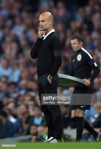 Manchester City manager Pep Guardiola during the Premier League match at the Etihad Stadium Manchester