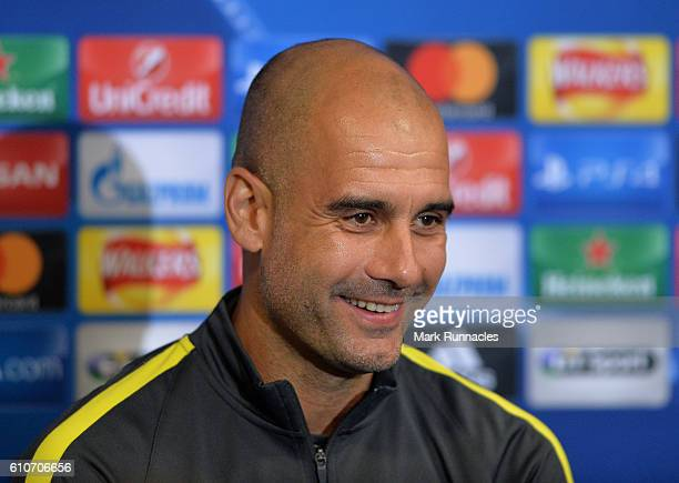 Manchester City manager Pep Guardiola speaks to the media ahead of the UEFA Champions League match between Celtic FC and Manchester City FC at Celtic...