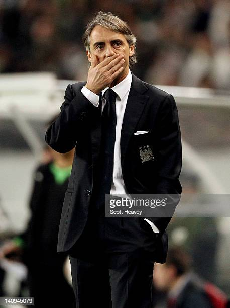 Manchester City manager Roberto Mancini during the UEFA Europa League Round of 16 between Manchester City and Sporting Lisbon at Estadio Jose...