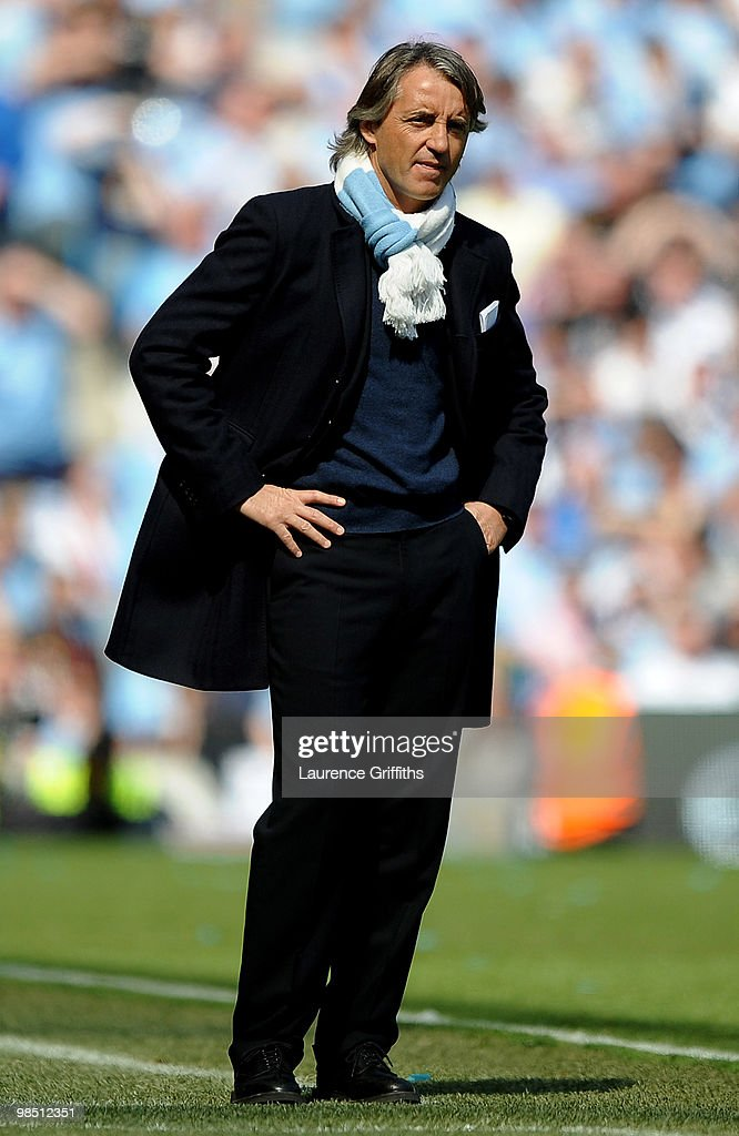 Manchester City Manager Roberto Mancini looks on during the Barclays Premier League match between Manchester City and Manchester United at the City of Manchester Stadium on April 17, 2010 in Manchester, England.