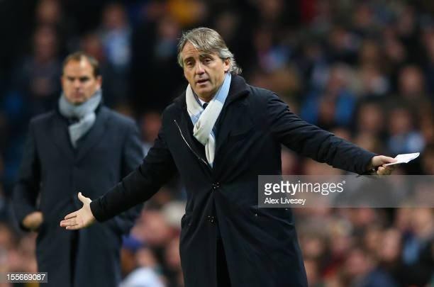 Manchester City Manager Roberto Mancini reacts during the UEFA Champions League Group D match between Manchester City FC and Ajax Amsterdam at the...